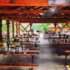 Wedding guest seating under Daddy J Pavilion. #ranchwedding #sylvandale #rustic
