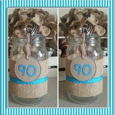 Centerpieces For 90th Bday Party Made From Ball Jars Berlap And Hydrangeas Birthday
