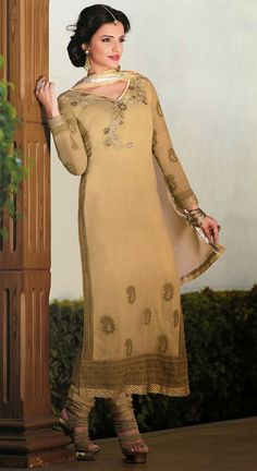 USD 40.25 Beige Semi Georgette Churidar Suit 44591