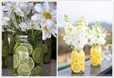 Love the fresh fruit in the mason jars! Great way to bring in my yellows.