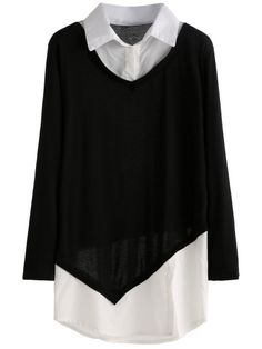 Black White Split Front 2 In 1 Blouse