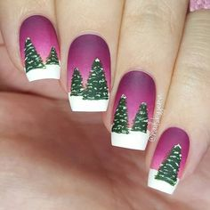 A colourful spin on my Winter Forest design from a couple of years ago. I think I love the vivid colours in this more   Products used: OPI 'Alpine Snow', 'Crawfishin' For A Compliment', 'Spare Me A French Quarter', 'Anti Bleak', 'Christmas Gone Plaid', NCLA 'Like Totally... Valley Girl', Sally Hansen 'Big Matte Top Coat', Kiesque Liquid Palisade, What's Up Nails Pure Color 10 brush.  Tutorial will be up later as always  #25daysofchristmasnailsbyjema #promakeuptutor #makeup #style #fashion…