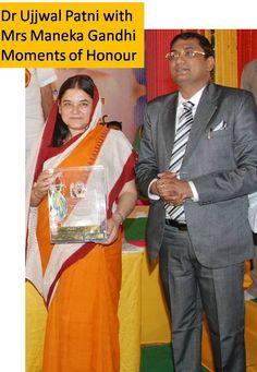 Motivational Speaker Dr. Ujjwal Patni with Central Minister Mrs. Maneka Gandhi