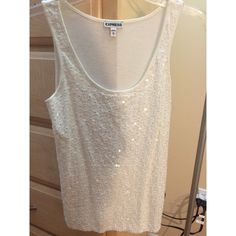 White Dressy Tank White tank top with sequins. Back doesn't have sequins. Great condition. Worn once Express Tops Tank Tops