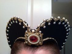 Elizabethan Renaissance Costume: Attifet Heart Shaped Headdress -SINGLE ROW without Pearls and metallic components.