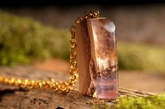 Space inside wooden necklace - nature pendant, resin necklace, wooden pendant, rose resin necklace, space necklace, layered necklace.