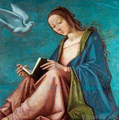 Lorenzo Costa - Maria der Verkündigung, 1490. Probably left wing of an altar.