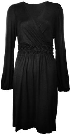 Mai Tai Women's Casual V-neck Jersey Dress Black « Clothing Adds Anytime