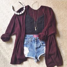 Wine Red V Neck Long Sleeve Loose Knit Cardigan  Love the whole thing, but with a crop top instead!