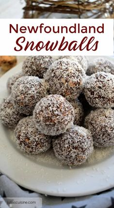 Best Christmas Cookies, Christmas Baking, Christmas Candy, Canadian Food, Canadian Cuisine, Canadian Recipes, Chocolate Snowballs, Chocolate No Bake Cookies, Snowballs Recipe