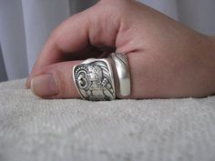 Alyssa Plessinger's siren ring; antique silver crafted from an 1847 Rogers Brox. spoon, TheBeadLadiesII, Etsy