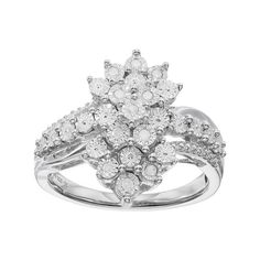 Sterling Silver 1/10 Carat T.W. Diamond Cluster Ring, White