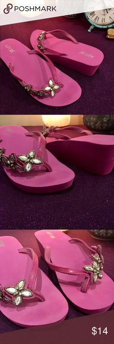 Apt.9 Purple Jeweled Foam Wedges 10 Size 10 Purple Apt.9 foam wedges excellent condition worn one time Apt. 9 Shoes Wedges