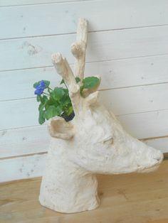 Custom Animal Head sculpture Planter White by Morphingpot #planter  #custom #animal  #portrait #garden #cermic