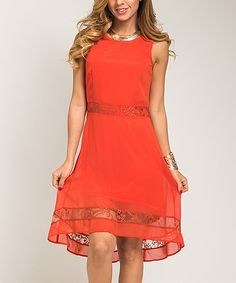 This Orange Lace Hem A-Line Dress - Women by  is perfect! #zulilyfinds
