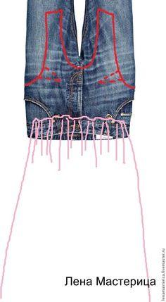 Como hacer un vestido con un jean y una camisa.