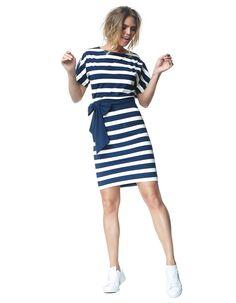 Aretha - ink/ecru stripe - Jersey lycra butterfly dress | LaDress