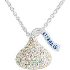 "Hershey's Kiss Aurora Borealis Crystal Silvertone Pendant, 18"""
