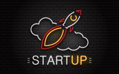 Download wallpapers Start Up concept, 4k, brick wall, neon lamp, rocket, start up