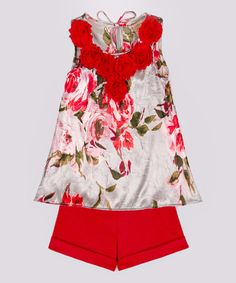 Loving this Silver & Red Flower-Collar Tank & Shorts - Toddler & Girls on #zulily! #zulilyfinds