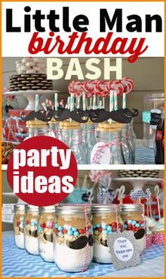 Mustache Bash Party Ideas.  Cute ideas for your favorite Little Man birthday party.  Creative food and table displays for the perfect boy party or baby shower.