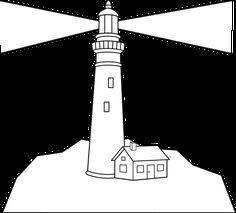 outline of a lighthouse | Lighthouse Scene Coloring Page