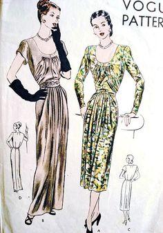 1940s Abito da sera o giorno abito modello Vogue 6095 Vintage Sewing Pattern drappeggiati dettagli bellissimi busto 32 di SoVintageOnEtsy su Etsy https://www.etsy.com/it/listing/168567955/1940s-abito-da-sera-o-giorno-abito