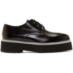 Alexander McQueen Black and Silver Platform Derbys ($370) ❤ liked on Polyvore featuring shoes, oxfords, lace up shoes, lace up oxfords, laced up shoes, pointed toe oxfords and black and silver shoes