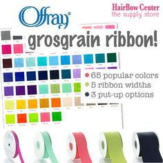 Popular made-in-the-USA Offray grosgrain ribbon available in 65 popular colors, 5 widths, and 3 put-up options from 5yds to 100yds!  Classic ribbon for making hair-bows, packaging, decor, general crafting and more! Buy your grosgrain ribbons online at the HairBow Center for the best product selection and quality!