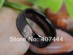 Free Shipping YGK JEWELRY Hot Sales 8MM Black Dome Firefighter Fireman Lord Ring Tungsten Carbide Wedding Ring