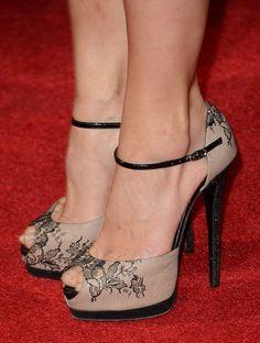 tan and black lacy high heel shoe