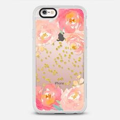 Watercolor Floral Gold Confetti - protective iPhone 6 phone case in Clear and Clear by Jande Laulu #floral | @casetify