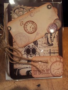 Steam punk style mens birthday card - brill stamps and papers