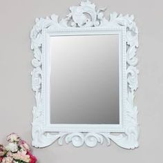 Large ornate wall mounted mirror French rococo baroque home decor display gift Pink Wall Mirrors, Mirror Wall Collage, Old Mirrors, Wall Mounted Mirror, Frames On Wall, Traditional Style Homes, French Rococo, Shabby Chic Frames, Shabby Chic Living Room