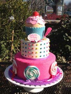 Tiered candy themed birthday cake Adult Birthday Cakes, Themed Birthday Cakes, Custom Cakes, Cake Art, How To Make Cake, Whimsical, Bakery, Candy, Desserts