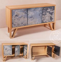 Design sideboard in the Scandinavian style.  Stone and Oak veneers, MDF,. Doors cabinet are opened by pressing. Wood is covered with ecological oil. #sideboarddesign #scandinaviandesign