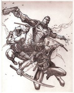 My pencil commission for a anonymous friend of (c)Marvel Comics' Punisher, Daredevil and Deadpool Hope y'all dig this one