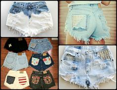 DIY denim shorts with studs, bleach, or patterned fabric