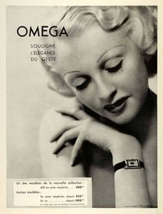 An elegant vintage French ad for Omega watches, 1936. Ok not a cosmetic ad but the makeup! <3 -- Eatl