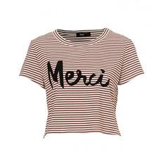 MERCI TEE ($28) ❤ liked on Polyvore featuring tops, t-shirts, crew neck t shirt, crop t shirt, pattern t shirts, crewneck tee and print tees
