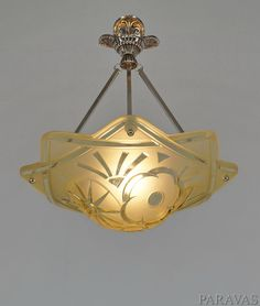 DEGUE : FRENCH 1930 ART DECO CHANDELIER ... pendant lustre lamp lampe muller era | Antiques, Decorative Arts, Lamps | eBay!