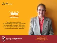 From counselling patients to writing articles to giving presentations to actively participating in our different initiatives, Ms Taranjeet Kaur does it all with great zeal, passion and finesse. She is immensely thorough with what she does and loves helping people. She is an inspirational figure and someone to look up to for budding nutritionists and the rest of us at AktivOrtho. She is our #AktivWomanOfTheDay.