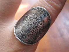 Wraparound Connecticut Quarter Ring with Sterling Silver Band MADE TO ORDER. on Etsy, $42.00