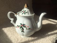 Lefton Porcelain Teapot Holly Berry 03036 by shezashowgirl on Etsy