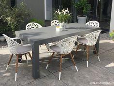 WHITE REEF Garten Stuhl 4er Set In & Outdoor Weiß mit Sitzkissen