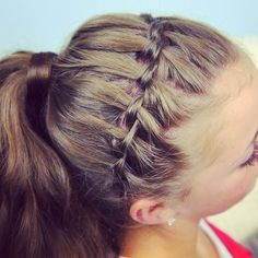 Waterfall Headband into a ponytail.  Tutorial on www.cutegirlshairstyles.com