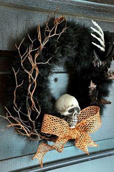 Creepy Halloween wreath with skull and bones