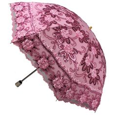 Women Vintage Embroidery Rose bloom Umbrella Folding Anti UV Sun Rain Parasol #YALI #Parasol