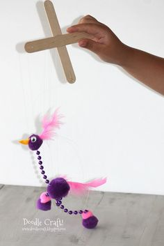 Mardi Gras Craft Activities: Easy Silly Bird Marionette with dollar store materials! Glue washers to the bottom of the feet for the right weight and a nice tap-dance sound. Projects For Kids, Diy For Kids, Craft Projects, Funny Crafts For Kids, Older Kids Crafts, Crafts To Do, Arts And Crafts, Stick Crafts, Bird Crafts