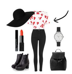 """""""A Touch of Love"""" by elenikitt on Polyvore featuring Topshop, Être Cécile, MANGO, Monki, NARS Cosmetics, NYX and Olivia Burton"""